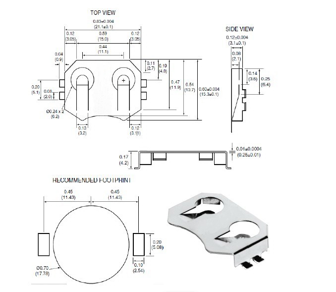 coin cell battery holder - 20mm  smd