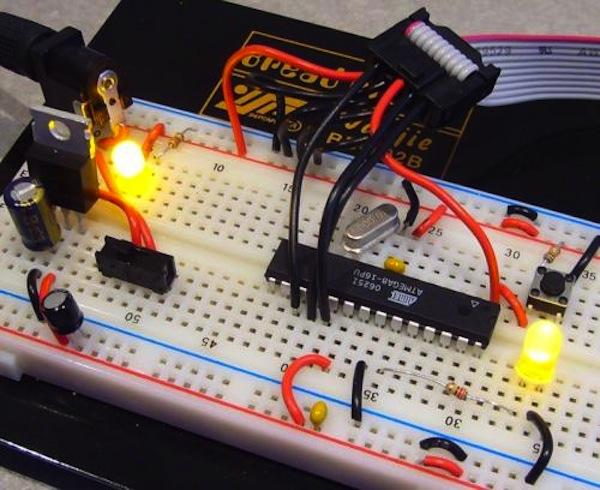 A circuit built on a solderless breadboard