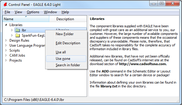 Un-using the default libraries