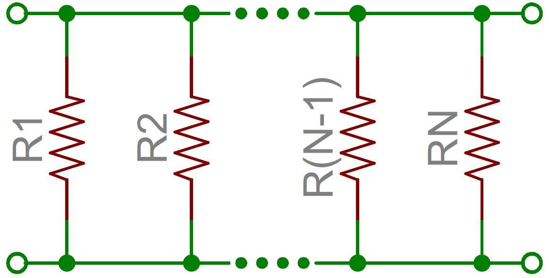 Schematic of resistors in parallel