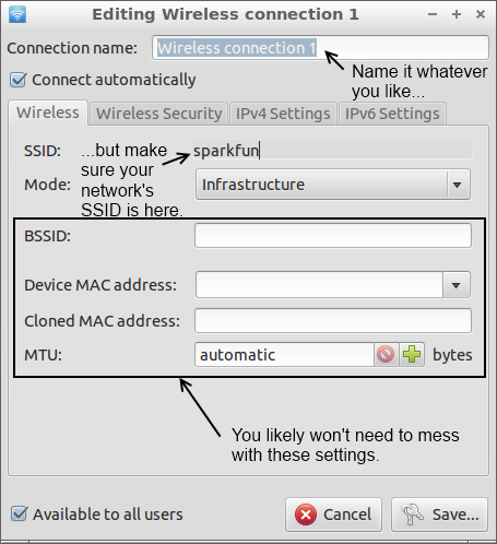 Configuring wireless connection