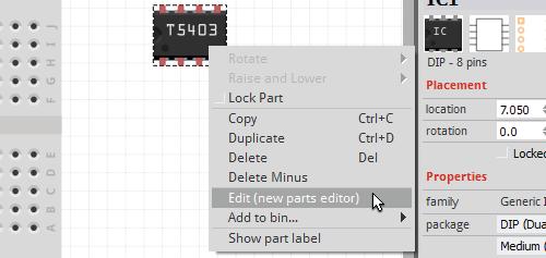 Go to Parts Editor