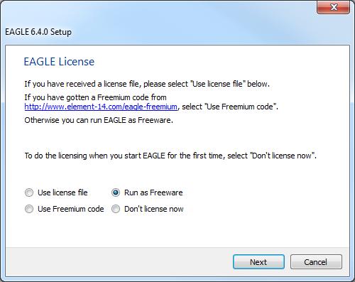 EAGLE license setup screen