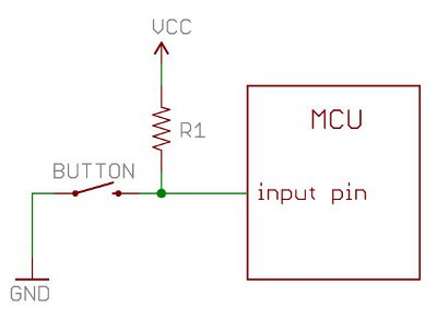A resistor pulling up a button input