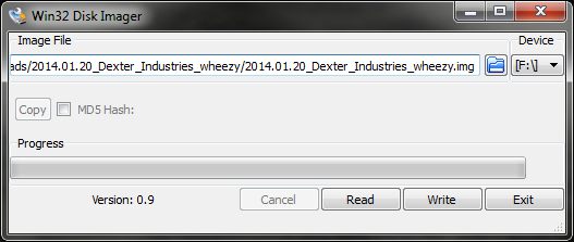 Win32DiskImager flashing Dexter Industries' Raspbian build