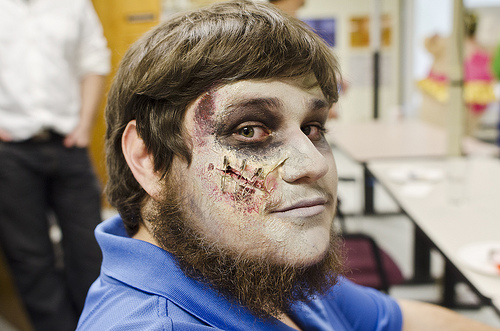 picture of sean in zombie facepaint