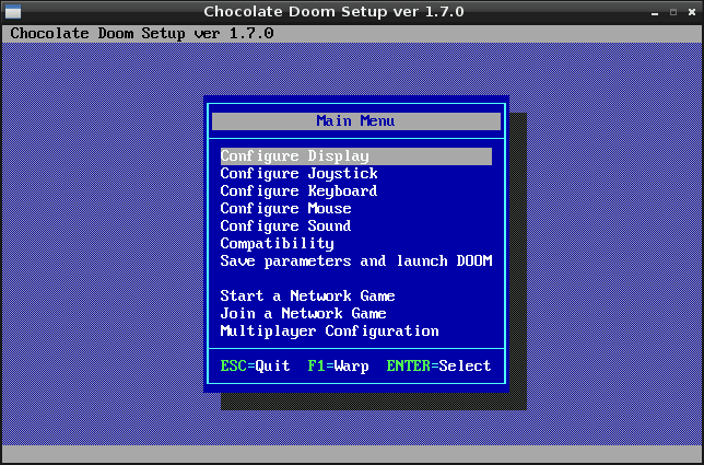 Chocolate setup screenshot