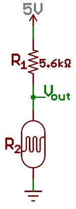 A photocell and resistor make a light sensor