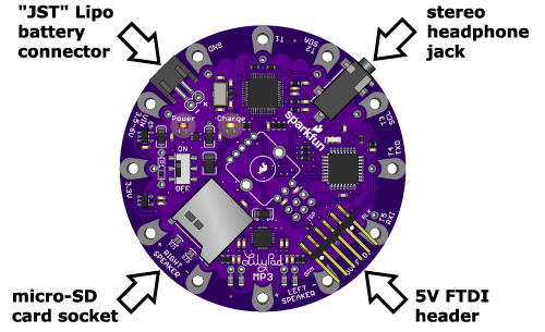 LilyPad MP3 Player connectors