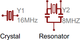 Crystal and resonator symbols