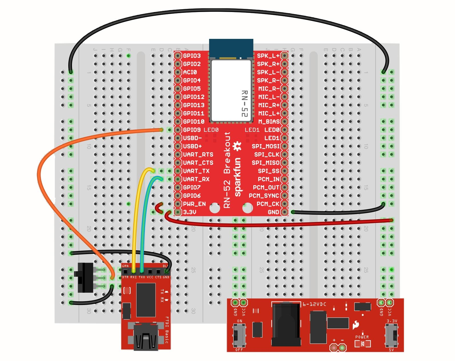 how to connect oscilloscope to breadboard
