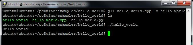 Hello world C++ output