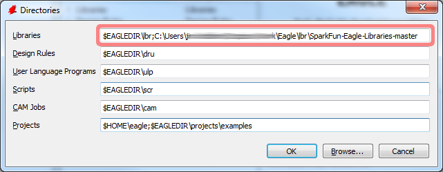Adding the SparkFun EAGLE libraries directory