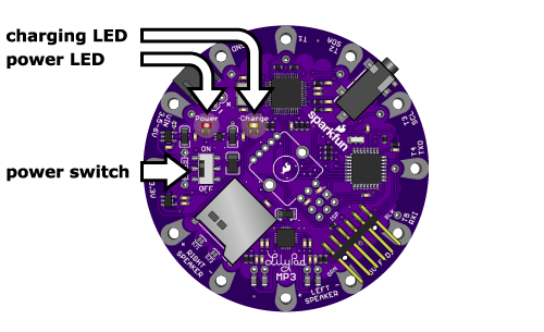 LilyPad MP3 Player power switch and LEDs