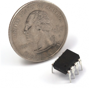 ATtiny85 (quarter included for size comparison)