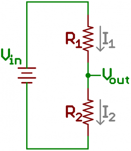 Standard voltage divider circuit with currents drawn in