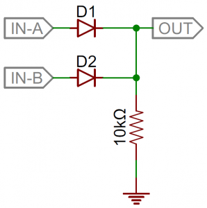 Diode 2-input OR gate schematic