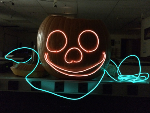 Pumpkin with EL Wire Face