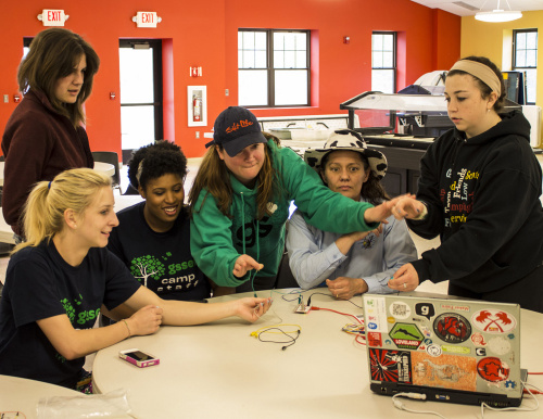 Girl Scout leaders playing with the MaKey MaKey