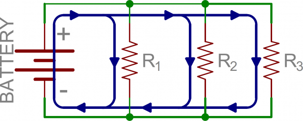 Schematic: Three resistors in parallel