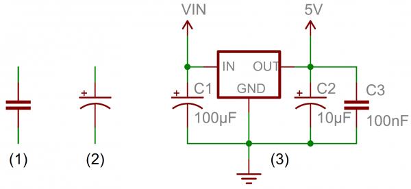 Capacitor circuit symbols