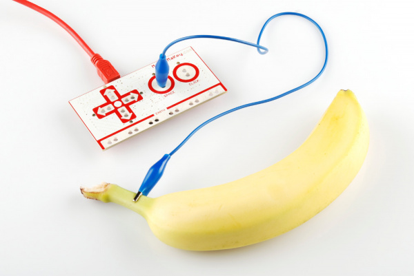 First alligator clip connected to banana