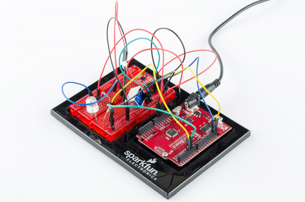 RedBoard connected to breadboard via jumper wires