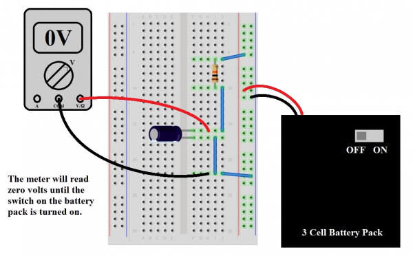Fritzing diagram, power off, cap in series with resistor, battery