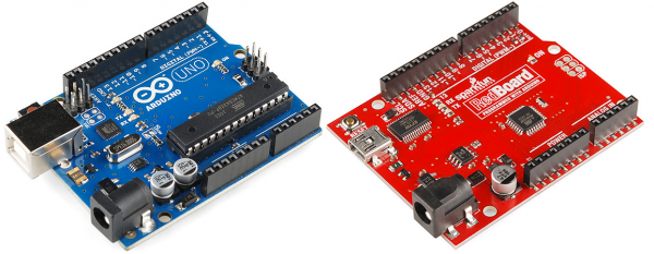 Arduino Uno PTH on the left, RedBoard on the right