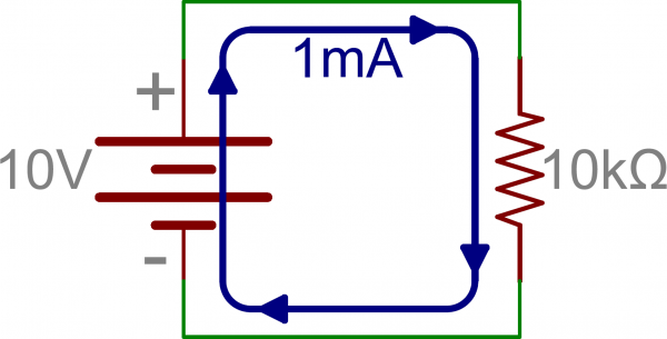 Schematic: Single Resistor in series with battery