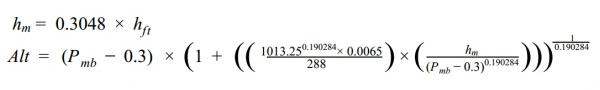 Alimeter setting formula