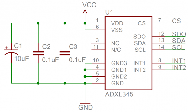Decoupling capacitor schematic