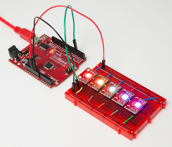 Redboard controlling five breadboarded breakout boards