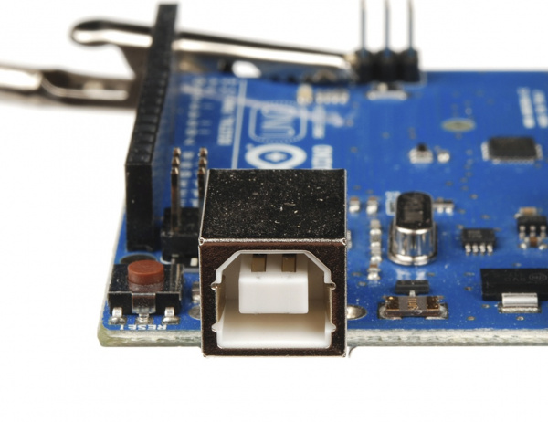 USB-B connector on an Arduino Uno