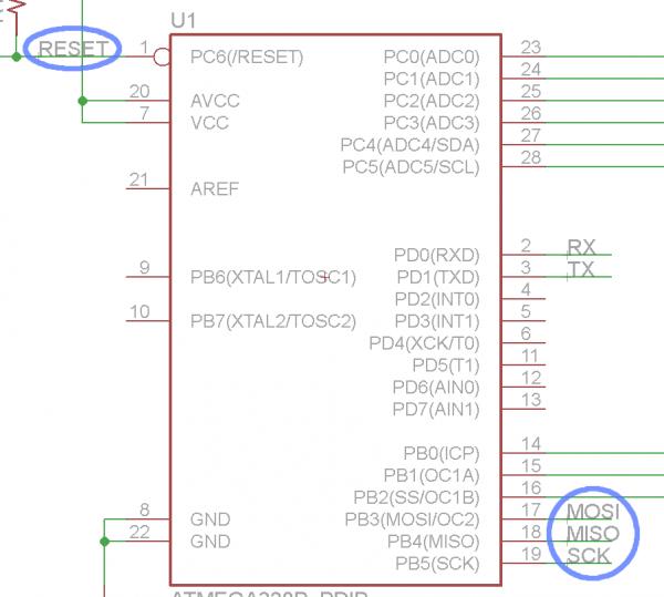ATmega328 SPI pins named/labeled
