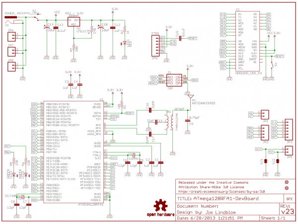 ATmega128RFA1 Dev Board Schematic