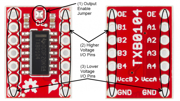 Labeled image of the TXB0104 BOB