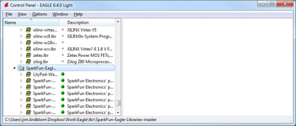 Correctly set libraries tree. Default lbr's not active, SparkFun lbrs ready to go!