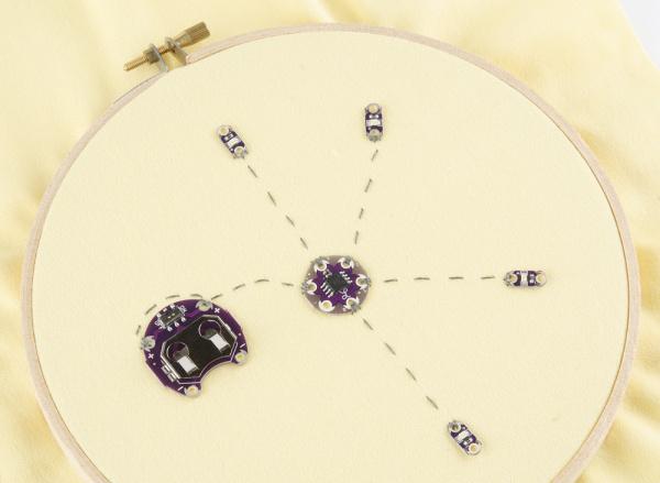 all LEDs sewn down
