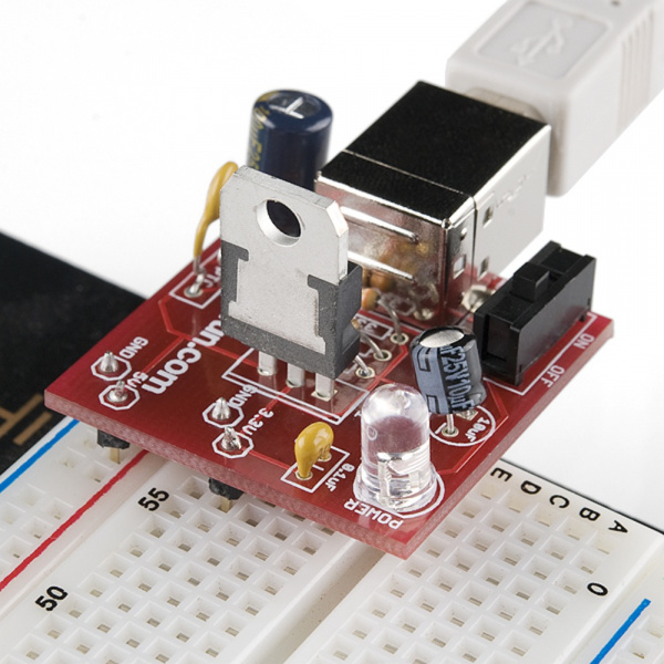 A SparkFun USB Breadboard Power Supply