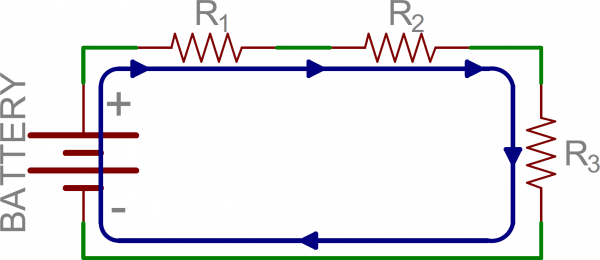Schematic: Three resistors in series