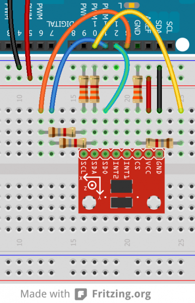 Breadboard example of level-shifting voltage dividers