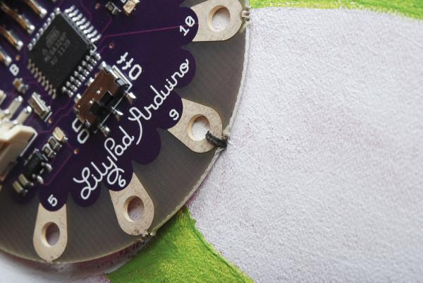 LilyPad sewn into fabric