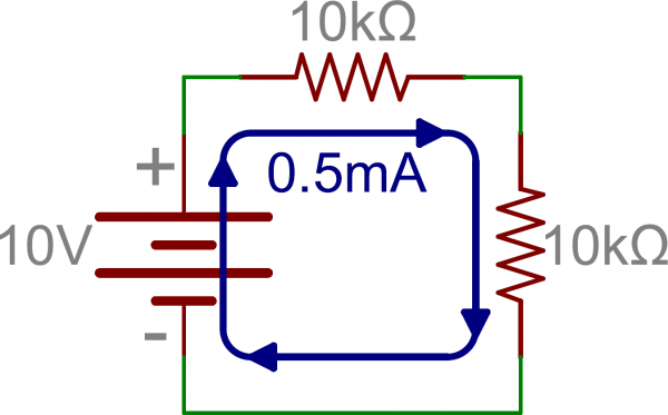 Schematic: Two series resistors in series with a battery