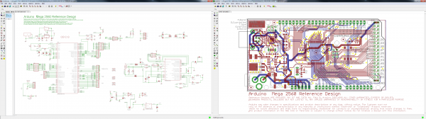 Board and schematic view both open