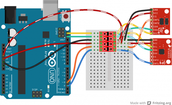 I2C ADXL345, L3G4200D to Arduino via BD-LLC