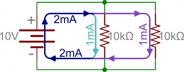 Schematic: Two parallel resistors in parallel with a battery