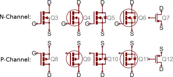 Variety of MOSFET symbols