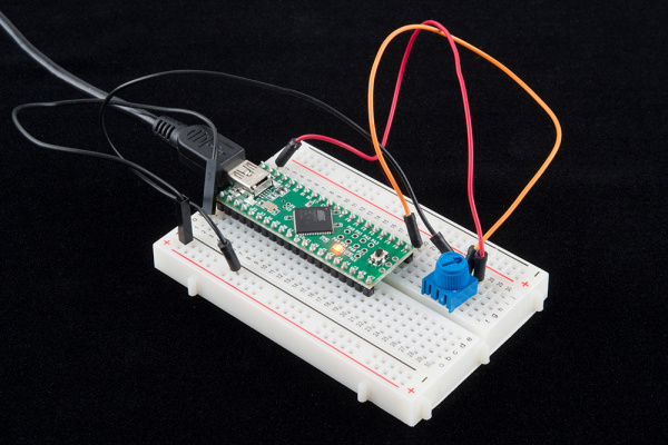 Teensy in a breadboard with a trimpot
