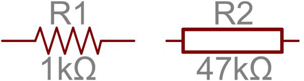 Resistor schematic symbols